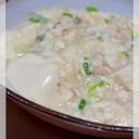 マルコメの鶏がらスープの素で 白い鶏塩麻婆豆腐
