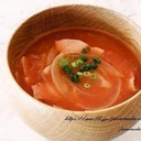 新玉ねぎとベーコンのトマト味噌汁
