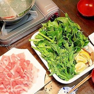 のらぼう菜の豚しゃぶ鍋