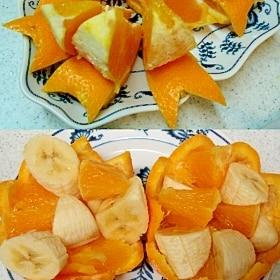 オレンジカップ&リボンを敷いたオレンジ