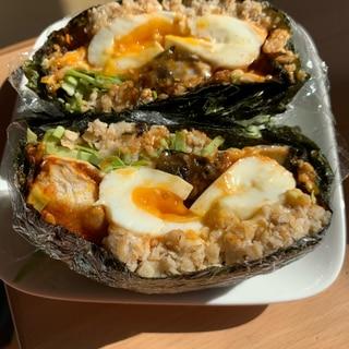 オートミールで!半熟卵のおにぎらず