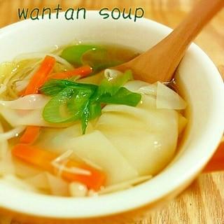 肉なし☆モヤシとエノキのワンタンスープ