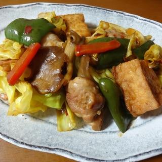 鶏もも肉と厚揚げの炒め物