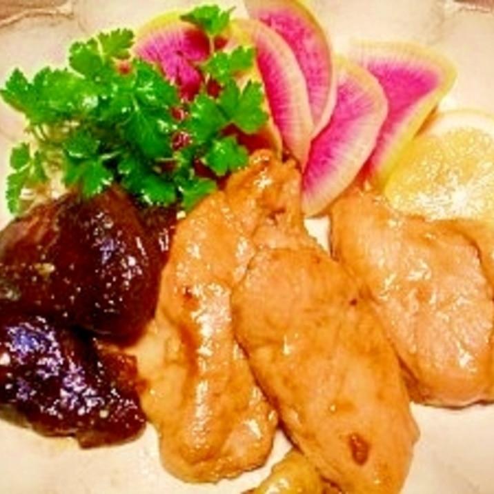 炭酸水で軟らか☆鶏胸肉と椎茸の照り焼き