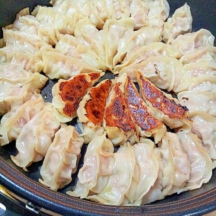 ホットプレートで焼く✿エリンギと豚ニラ餃子❤