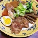 味噌味の豚の角煮with野菜と豆腐とゆで卵。