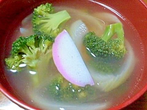 ブロッコリーとかまぼこと玉ねぎの和風スープ