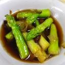 アスパラピリ辛麺つゆ焼きびたし