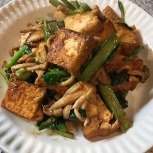 小松菜と厚揚げの胡麻みそ炒め