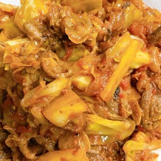 ラムの薄切り肉とキャベツのサブジ(蒸し煮込み)
