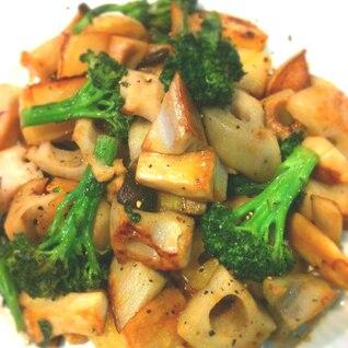 根菜とキノコのコンソメ炒め