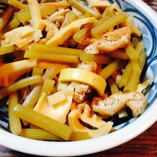 ふき、油揚げ、筍の煮物