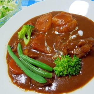 圧力鍋でお肉ほろほろ♪きざみニンニクビーフシチュー