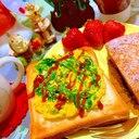 菜の花オムレツのせチーズトースト