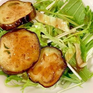 揚げナス、レタス、水菜の柚子胡椒サラダ
