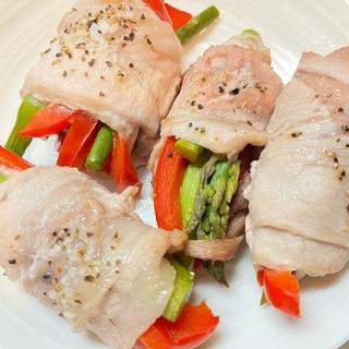 オーブンで簡単♪アスパラとパプリカの豚バラ巻き
