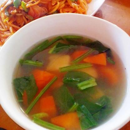 簡単♪ゴロゴロ野菜のコンソメスープ