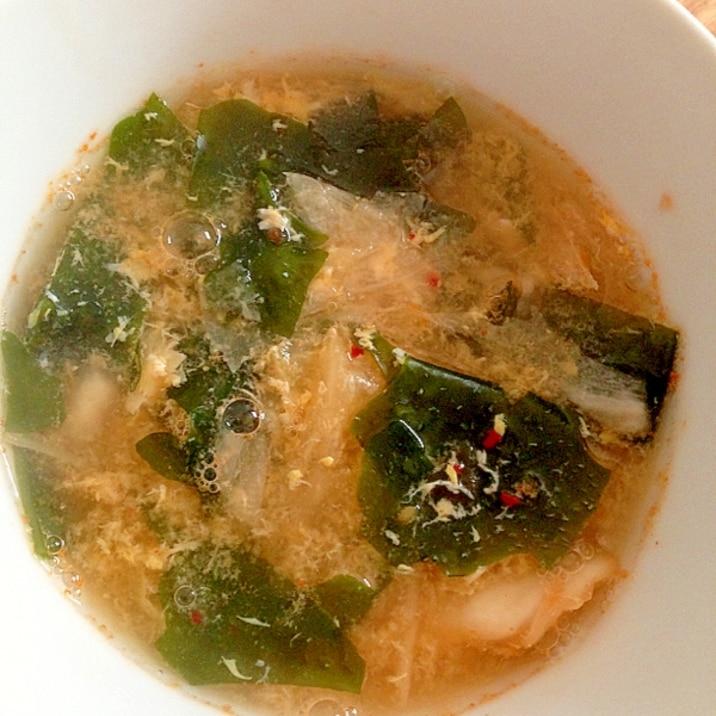 キムチと卵とワカメスープ☆