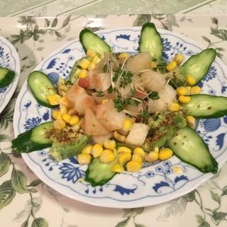 ヤーコンがメインのタラコ、ブロッコリー芽のサラダ