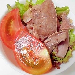 豚タン塩で サラダ