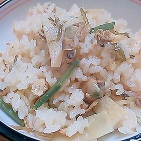 あさりむき身と山菜ミックス簡単炊き込みご飯(^^)