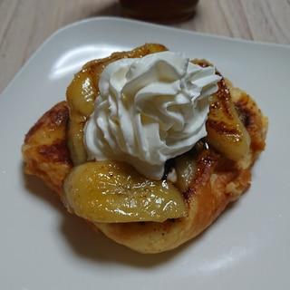 デニッシュパンのカラメルバナナ