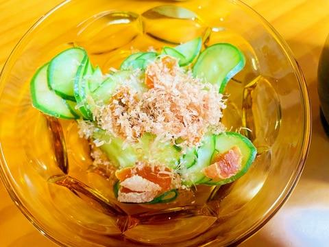 きゅうりと市田柿の甘酢和え