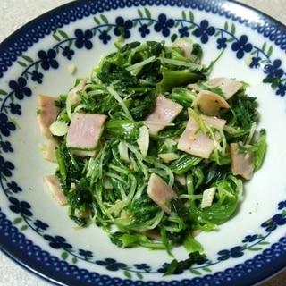 ほうれん草と水菜&のべーコン炒め