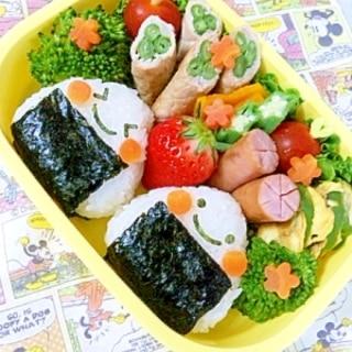 簡単キャラ弁☆ニコニコおにぎりのお弁当♪