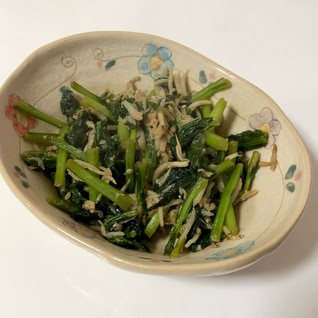 【簡単】しらすとかぶの葉の炒め物