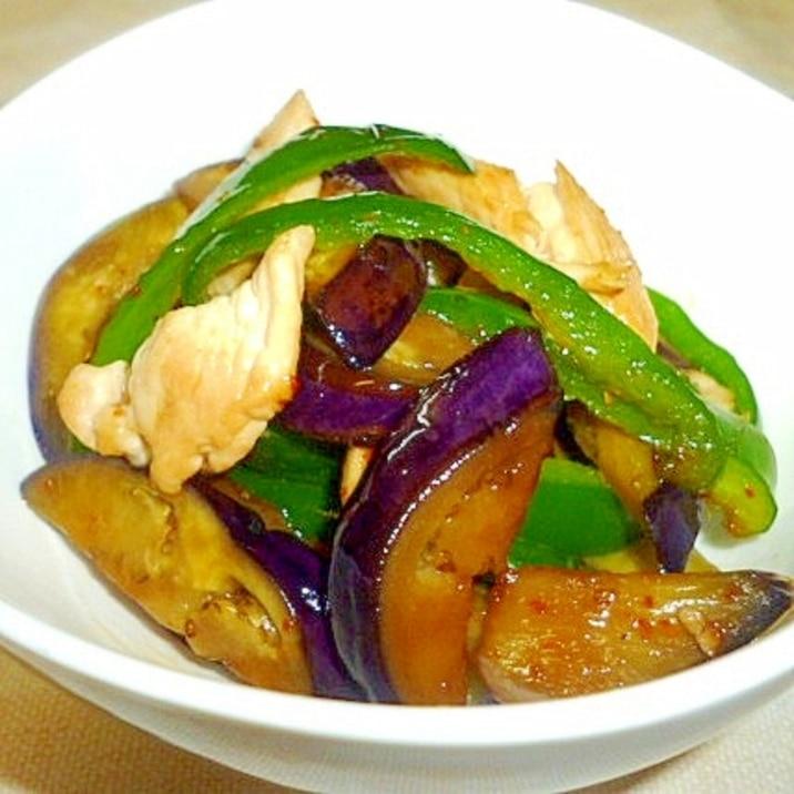 茄子とピーマンの簡単麺つゆ炒め♪