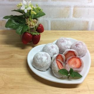 市販の求肥で簡単イチゴ大福♡