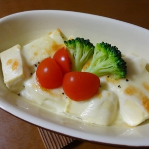 焼くだけ☆簡単あと一品♪ふわふわお豆腐チーズ焼き