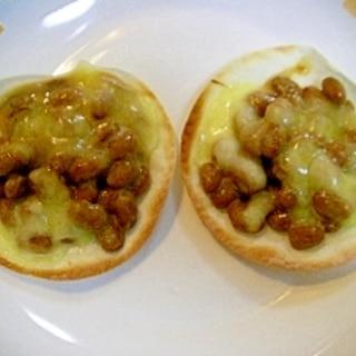餃子の皮で ❤パリパリ~チーズ納豆❤
