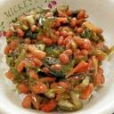 納豆の食べ方-昆布&高菜しその実漬け♪
