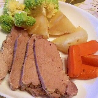 豚肩ロースのレンジ焼き、野菜添え