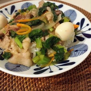 野菜たっぷり♪小松菜の中華丼