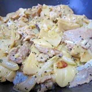 豚肉とエリンギのガーリックバターマヨ丼