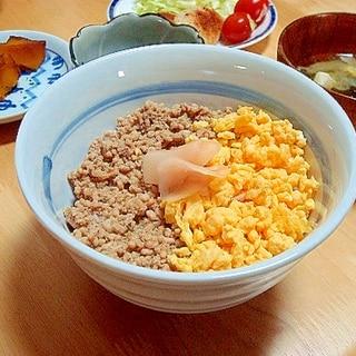 つゆだく(?)の鶏そぼろ丼