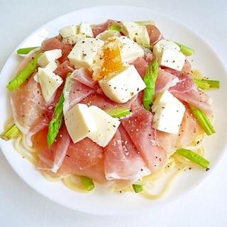 生ハムとモッツァレラチーズの冷製パスタ