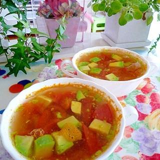トマトとアボカドのコンソメスープ♪