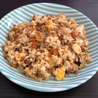 納豆と福神漬けのチャーハン