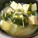 セロリとえのきと大根の葉の豆腐味噌汁
