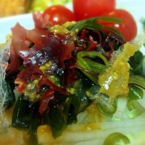 味噌ドレッシングの海藻サラダ