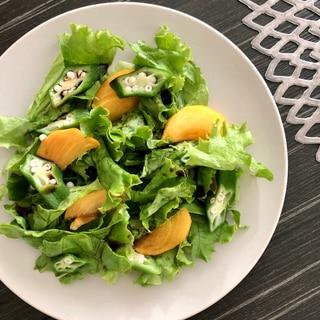 柿とオクラのグリーンサラダ
