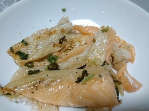鮭のハラスのねぎ塩焼き