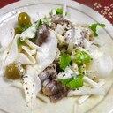 牛しゃぶセロリオリーブのヨーグルトサラダ