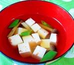ひと味違う^^絹さや・しめじ・豆腐のお吸い物