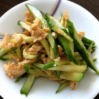 鶏ムネ肉ときゅうりの中華風酢の物☆レンチンで簡単!