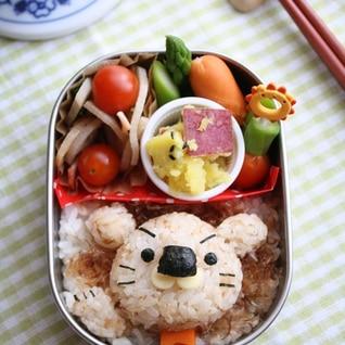 鰹節ご飯でライオン君キャラ弁